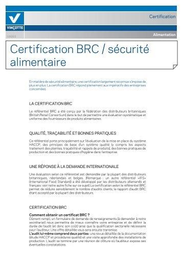 Certification BRC / sécurité alimentaire