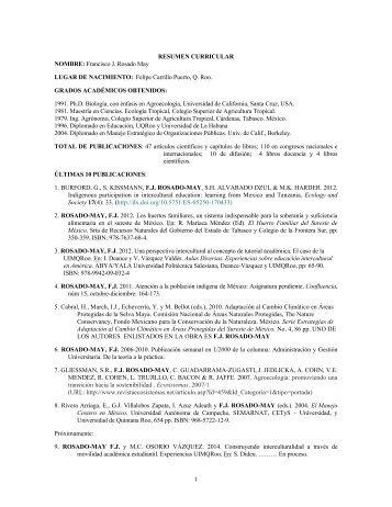 Curriculum Vitae Resumido - UIMQRoo