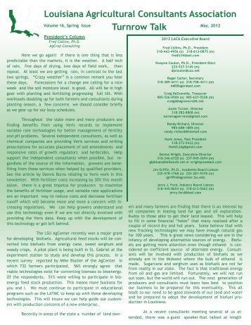 Spring 2012 - Louisiana Agricultural Consultants Association ( LACA )