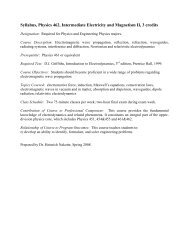Syllabus, Physics 462, Intermediate Electricity and Magnetism II, 3 ...