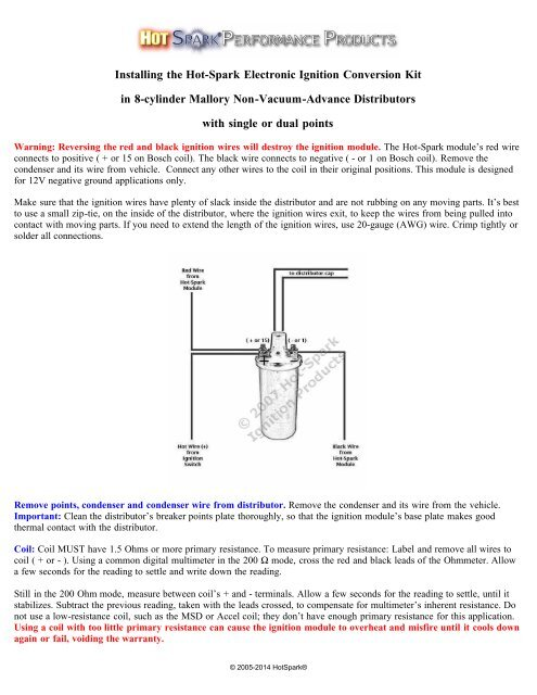 Instructions - Installing the Hot-Spark Ignition in Mallory ... on