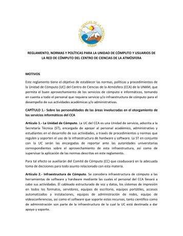 reglamento, normas y políticas para la unidad de cómputo y ...