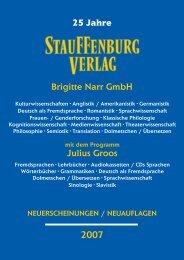 Julius Groos Brigitte Narr GmbH 25 Jahre - Stauffenburg Verlag