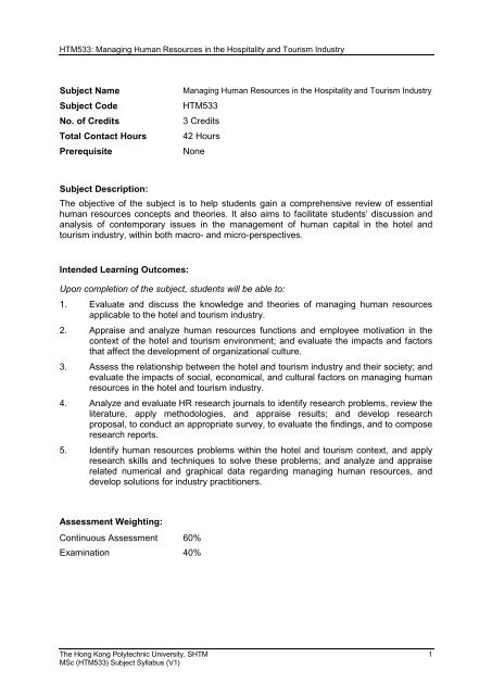 HTM533 - School of Hotel & Tourism Management - The Hong Kong ...