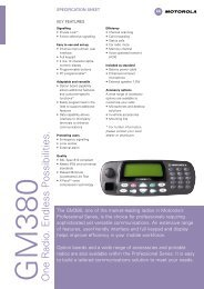 GM380 Spec Sheet - Motorola Solutions