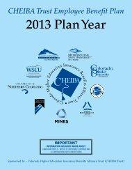 2013 Plan Year - University of Northern Colorado