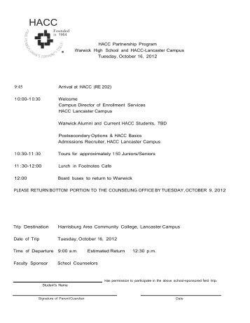 HACC Partnership Program Warwick High School and HACC ...
