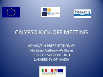 CALYPSO KICK-OFF MEETING - University of Malta