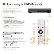 Bruksanvisning for HD PVR-dekoder - Canal Digital Kabel-TV