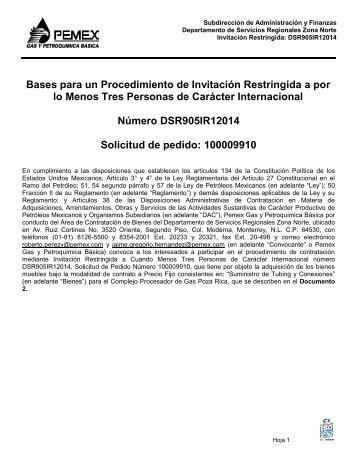bases de licitación pública nacional - Pemex Gas y Petroquímica ...
