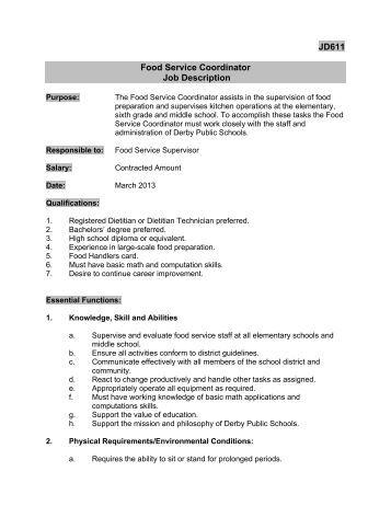 JD608 Central Kitchen Manager Job Description Derby
