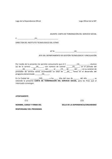 formato carta de terminacion del servicio social tecistmo