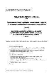 BTP - annexe à l'accord sur les missions des CPNE et CPREF