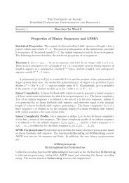 Properties of Binary Sequences and LFSR's - The University of Sydney