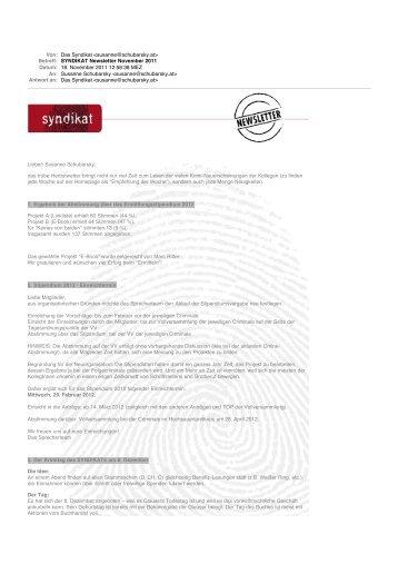 SYNDIKAT Newsletter November 2011 - Das Syndikat