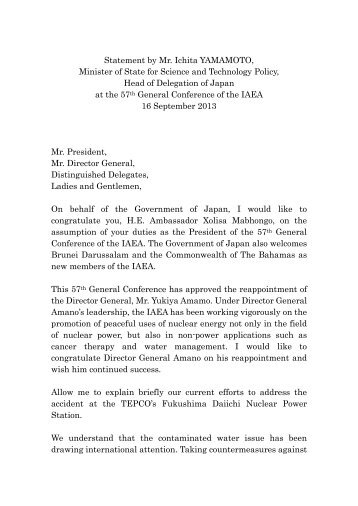 Statement by Mr. Ichita YAMAMOTO, Minister of State for Science ...
