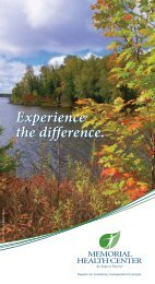 Experience the difference. - Memorial Health Center