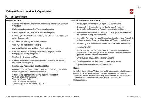 Feldtest Reiten Handbuch Organisation A. Vor dem Feldtest