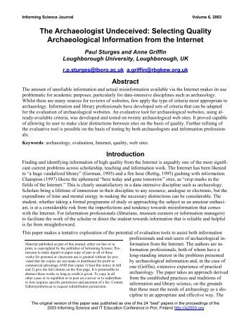 The Archaeologist Undeceived: Selecting ... - Informing Science