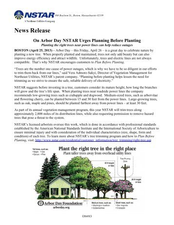 News Release On Arbor Day NSTAR Urges Planning Before Planting