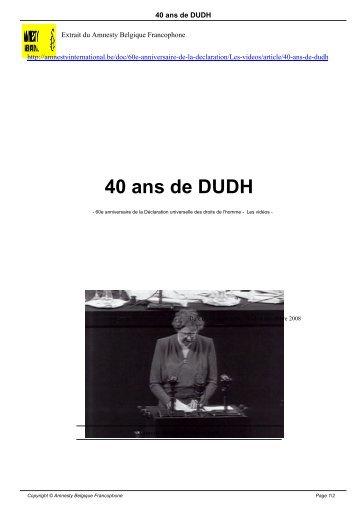 40 ans de DUDH - AMNESTY INTERNATIONAL.be