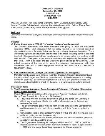Sept 29 - Outreach & International Affairs