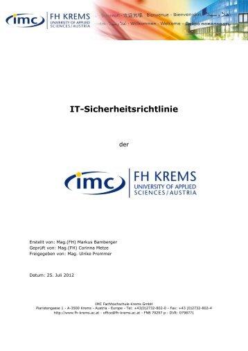 IT-Sicherheitsrichtlinie - IMC Fachhochschule Krems GmbH