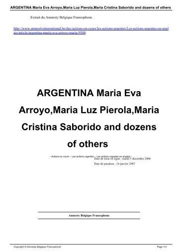 ARGENTINA Maria Eva Arroyo,Maria Luz Pierola,Maria Cristina ...