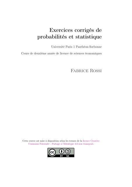 Exercices Corriga C S De Probabilita C S Et Statistique Fabrice Rossi