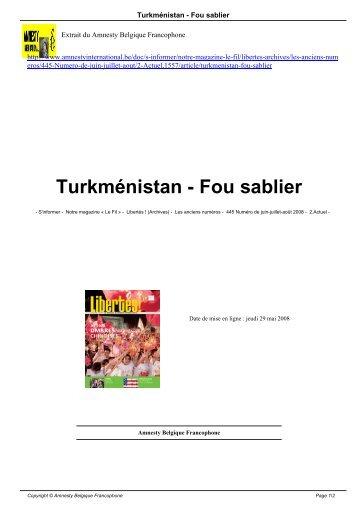 Turkménistan - Fou sablier - AMNESTY INTERNATIONAL.be