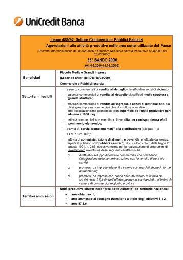 Legge 488/92 Settore Commercio e Pubblici Esercizi Agevolazioni ...