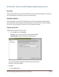 IRT Web Site – How to use PHP Template using Dreamweaver CS5 ...