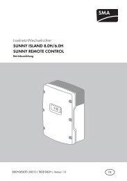 SUNNY ISLAND 8.0H/6.0H / SUNNY REMOTE CONTROL ...