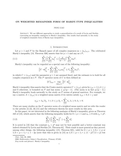 ON WEIGHTED REMAINDER FORM OF HARDY-TYPE ... - ajmaa