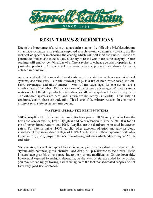 To Download Resin Terms Definitions Farrell Calhoun Paint