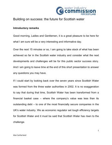 Managing Scotland's Water - Water Industry Commission for Scotland