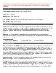 Milwaukee Evaluation of Daily Living Skills (MEDLS)