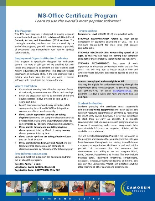 Program Brochure PDF - Camosun College