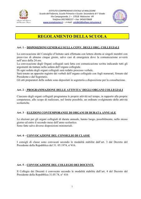 Regolamento Della Scuola Ic Malcesine News