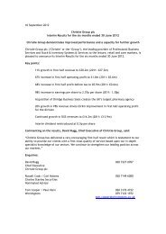 Christie Group plc 2012 Interim Chairman's Statement - Christie + Co