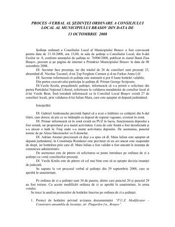 Proces verbal - Primaria Municipiului Brasov