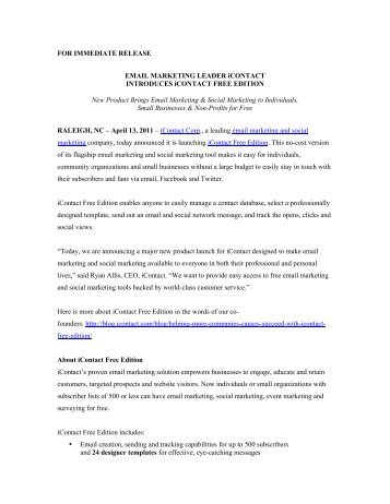 FOR IMMEDIATE RELEASE EMAIL MARKETING ... - iContact