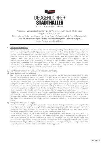 Allgemeine Vertragsbedingungen für die Vermietung von ...