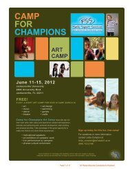 Camp Application and Registration Packet - Camps For Champions