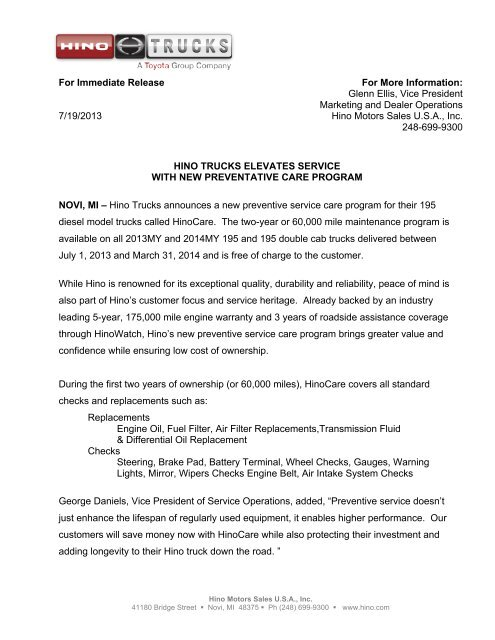 For Immediate Release 7/19/2013 For More Information - Hino