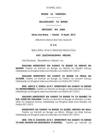 19 APRILI, 2012 1 BUNGE LA TANZANIA MAJADILIANO YA ...