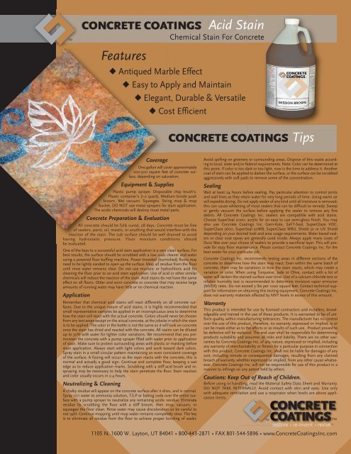 Acid Stain - AltaPaints and Coatings
