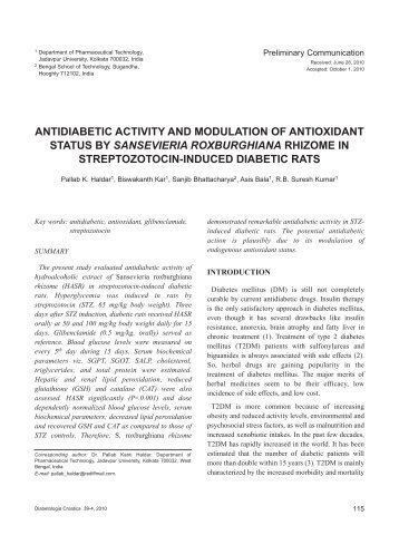antidiabetic and antioxidant activity of wasteland Antibacterial activity of aqueous extract of  calotropis gigantea is a common wasteland weed and known for various  antidiabetic, hemolytic, antioxidant.