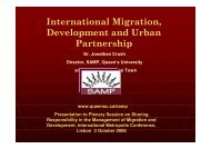 International Migration, Development and Urban Partnership