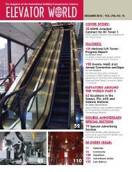 COVER STORY: IN EVERY ISSUE: - Elevator World